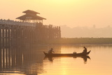Fishermen on Taungthaman Lake in Dawn Mist Photographic Print by Lee Frost