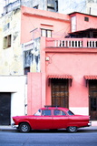 Red Vintage American Car Parked on a Street in Havana Centro Photographic Print by Lee Frost