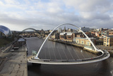 Millennium Bridge and Tyne Bridge Span the River Tyne Photographic Print by Stuart Forster