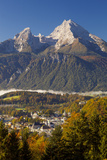Overview of Berchtesgaden in Autumn with the Watzmann Mountain in the Background Photographic Print by Miles Ertman
