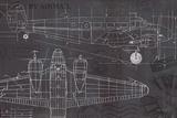 Plane Blueprint I Print by Marco Fabiano