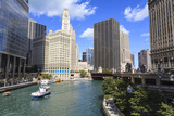 Chicago River Walk Follows the Riverside Along East Wacker Drive Photographic Print by Amanda Hall