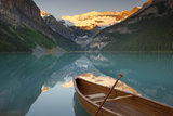 Canoe on Lake Louise at Sunrise Photographic Print by Miles Ertman