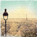 Eiffel Landscape Letter Blue I Posters by Sue Schlabach
