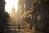 Backlit Street at Dawn with People in Semi-Silhouette Photographic Print by Lee Frost