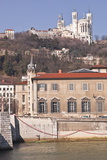 The Waterfront in Old Lyon with the Basilica Notre Dame De Fourviere on the Hill Photographic Print by Julian Elliott