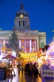 Council House and Christmas Market Stalls in the Market Square Photographic Print by Frank Fell