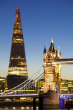 The Shard Building and Tower Bridge at Night Photographic Print by Miles Ertman