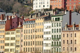 Typical Colourful Building Facades Facing onto the River Saone in Lyon, Rhone-Alpes, France, Europe Photographic Print by Julian Elliott