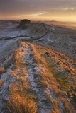 Sunrise on Hadrian's Wall National Trail in Winter Photographic Print by Peter Barritt