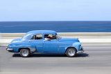 Panned' Shot of Old Blue American Car to Capture Sense of Movement Photographic Print by Lee Frost