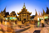 Fisheye Shot at Night of Temples at Shwedagon Paya (Pagoda) Photographic Print by Lee Frost