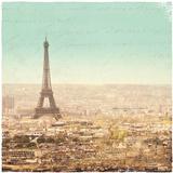 Eiffel Landscape Letter Blue II Affiches par Sue Schlabach