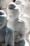 Marble Buddha Images Waiting to Be Finished at a Stone Carver's in Amarapura Fotografisk tryk af Lee Frost