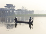 Fisherman on Taungthaman Lake in Mist at Dawn with U Bein Bridge Photographic Print by Lee Frost