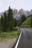 Mountain Road and the Sassolungo Mountains in the Dolomites Near Canazei Photographic Print by Martin Child