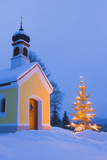 Chapel with Christmas Tree in Winter Near Krun, Garmisch-Partenkirchen, Bavaria, Germany, Europe Photographic Print by Miles Ertman
