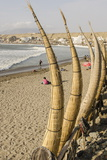Caballitos De Totora or Reed Boats on the Beach in Huanchaco, Peru, South America Photographie par Michael DeFreitas
