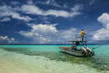 Little Motor Boat in the Turquoise Waters of the Ant Atoll, Pohnpei, Micronesia, Pacific Photographic Print by Michael Runkel