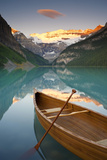 Canoe on Lake Louise at Sunrise, Lake Louise, Banff National Park, Alberta, Canada Photographic Print by Miles Ertman