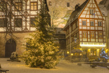 Christmas Tree Lit Up at Night in the Historic Center of Nuremberg, Germany, Europe Photographic Print by Miles Ertman