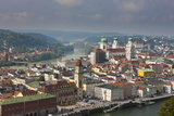 View over the River Danube and Passau, Bavaria, Germany, Europe Photographic Print by Michael Runkel