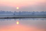 Sunrise over Taungthaman Lake and U Bein Bridge, Amarapura, Near Mandalay, Myanmar (Burma), Asia Photographic Print by Lee Frost
