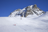 Le Serac Blue Piste, Winter Sun, Champagny, La Plagne, French Alps, France, Europe Photographic Print by Peter Barritt