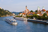 Cruise Ship Passing on the River Danube, Passau, Bavaria, Germany, Europe Photographic Print by Michael Runkel