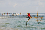 Stilt Fishermen, Dalawella, Sri Lanka, Indian Ocean, Asia Reproduction photographique par Christian Kober