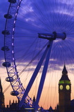 The London Eye and Big Ben, London, England, United Kingdom, Europe Photographic Print by Neil Farrin