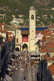 Clock Tower and Stradun, Old City, UNESCO World Heritage Site, Dubrovnik, Croatia, Europe Photographic Print by Neil Farrin