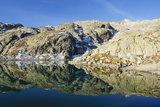 Hiker at Lac Blanc, Chamonix, Haute-Savoie, French Alps, France, Europe Photographic Print by Christian Kober