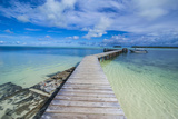 Boat Pier on Carp Island, One of the Rock Islands, Palau, Central Pacific, Pacific Photographic Print by Michael Runkel