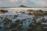 Rocky Shoreline and St. Michaels Mount, Early Morning, Cornwall, England, United Kingdom, Europe Photographic Print by Mark Doherty