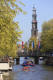 Westerkerk Church Tower by Prinsengracht Canal, Amsterdam, Netherlands, Europe Photographic Print by Amanda Hall