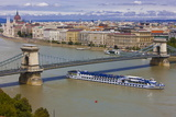 Chain Bridge across the River Danube, Budapest, Hungary, Europe Photographic Print by Michael Runkel