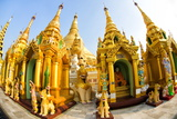 Fisheye Image of Shrines at Shwedagon Paya (Pagoda), Yangon (Rangoon), Myanmar (Burma), Asia Photographic Print by Lee Frost