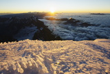 Sunrise from Summit of Mont Blanc, 4810M, Haute-Savoie, French Alps, France, Europe Photographic Print by Christian Kober
