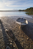 Motor Boat at Sunrise, Okarito Lagoon, West Coast, South Island, New Zealand, Pacific Photographic Print by Matthew Williams-Ellis