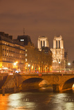 The Ile De La Cite and Notre Dame Cathedral at Night, Paris, France, Europe Photographic Print by Julian Elliott