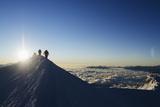 Sunrise from Summit of Mont Blanc, 4810M, Haute-Savoie, French Alps, France, Europe Fotodruck von Christian Kober