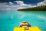 Yellow Sundeck of a Boat in the Ant Atoll, Pohnpei, Micronesia, Pacific Photographic Print by Michael Runkel