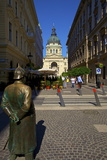 Statue of Policeman with St. Stephen's Basilica, Budapest, Hungary, Europe Photographic Print by Neil Farrin