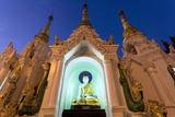 Temple at Shwedagon Paya (Pagoda) Floodlit at Night, Yangon (Rangoon), Myanmar (Burma), Asia Photographic Print by Lee Frost