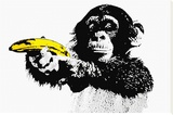 Monkey Banana Stretched Canvas Print