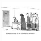 """It's death, taxes, and four out of five dentists—are you in?"" - New Yorker Cartoon Stretched Canvas Print by Tom Cheney"