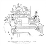 """Well, whoever he is, every time I ring up a dollar he snatches out thirty…"" - New Yorker Cartoon Stretched Canvas Print by George Price"