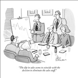 """The dip in sales seems to coincide with the decision to eliminate the sal…"" - New Yorker Cartoon Stretched Canvas Print by Leo Cullum"