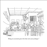 """Being an accountant gives him that extra aura of danger."" - New Yorker Cartoon Stretched Canvas Print by Jack Ziegler"